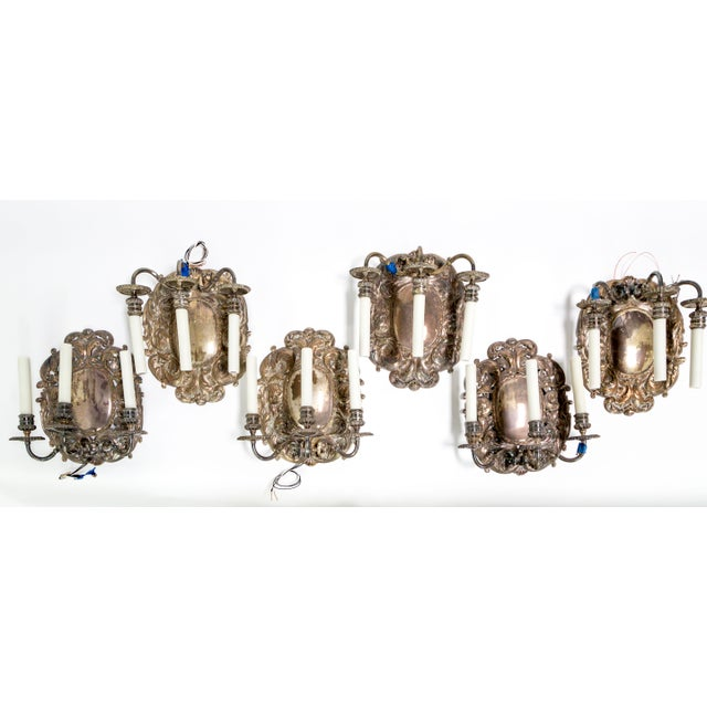 We have six of these gorgeous, shiny, shield sconces with fine acanthus leaf details. Created in Spain, circa 1900-1910,...