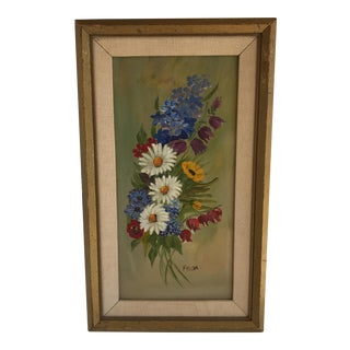 Mid-Century Daisy Wildflower Painting For Sale