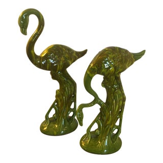 Vintage Majolica Green Marbled Flamingo Figurines - a Pair For Sale