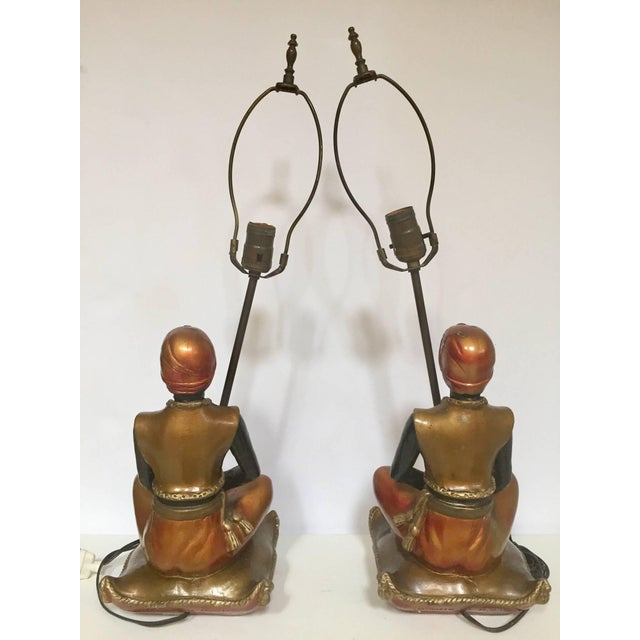 Pair of Blackamoors Mid-century Nubian Table Lamps For Sale In Los Angeles - Image 6 of 13