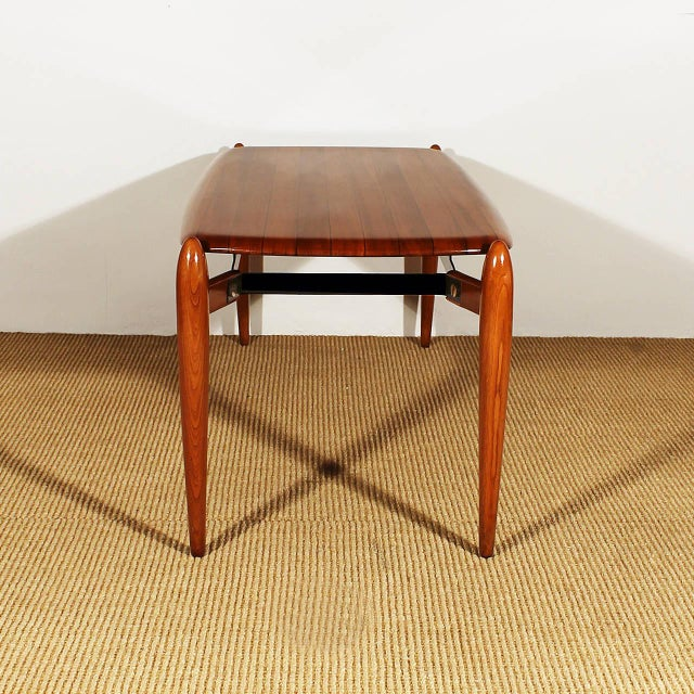 1950s Coffee Table, solid teak with ebony strips, iron, brass hardware - Italy For Sale - Image 4 of 8
