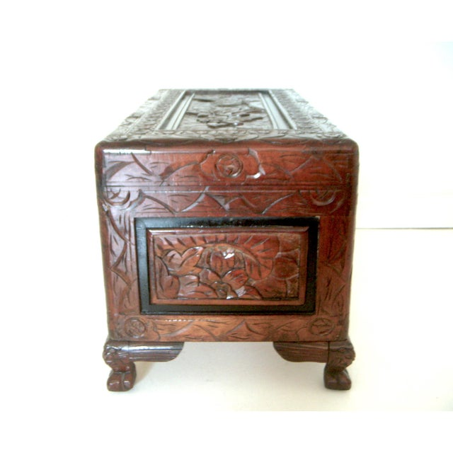 Vintage Chinese Hand Carved Wood Storage Chest / Trunk For Sale - Image 4 of 7
