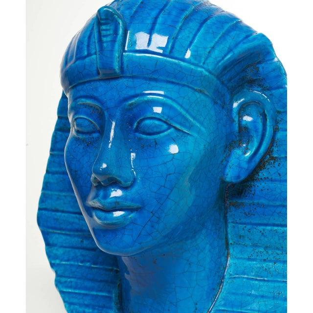 Persian Blue Glaze King Tutankhamun Ceramic Bust by Ugo Zaccagnini - Image 5 of 8