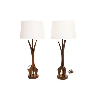 Mid CenturyWalnut Table Lamps With New Shades. 1960s Circa. - a Pair For Sale