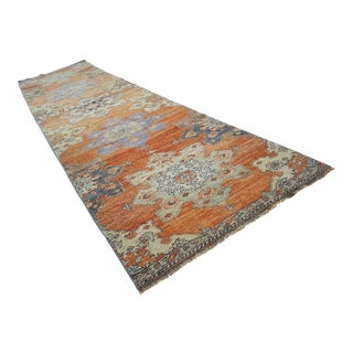 1970s Vintage Turkish Oushak Runner Rug - 2′11″ × 11′2″ For Sale