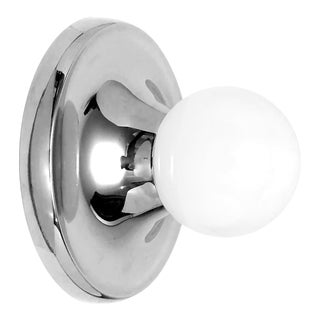 Nickel and Opaline Glass Globe Wall Sconce/Flush Mount Light by Achille & Pier Giacomo Castiglioni for Flos For Sale