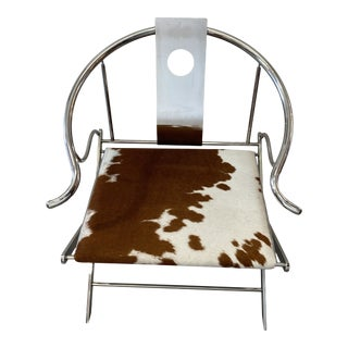 Contemporary Cowhide and Chrome Accent Chair For Sale