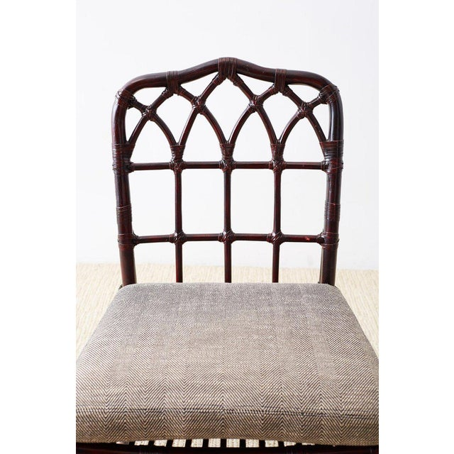 Brown Set of Four McGuire Lacquered Bamboo Dining Chairs For Sale - Image 8 of 13