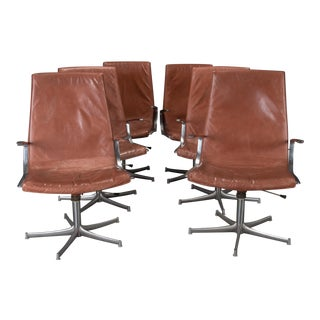 Walter Knoll Chrome & Cognac Leather Chairs - Set of 6 For Sale