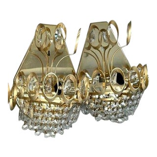 """1960s Gold Tone/ Crystal Wall Sconces Attrib. Palwa"""" - a Pair For Sale"""