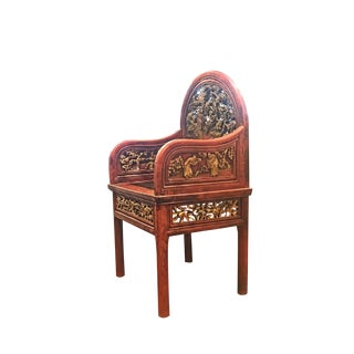 19th Century Chinese Carved Gilt Lacquered Chair For Sale