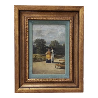 """Antique Oil Painting """"A Walk in the Park"""" Late 19th to Early 20th Century For Sale"""