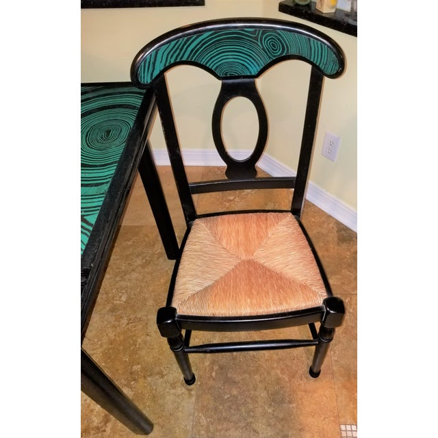 1970s Mid Century Faux Malachite Dining Set 5 Piece Set 1 Table 4 Chairs 2 Leaves All Matching! For Sale - Image 12 of 13