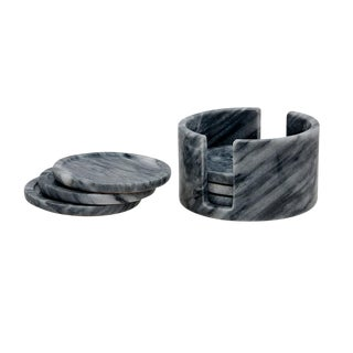 Gray Marble Coaster Set - Set of 6 For Sale