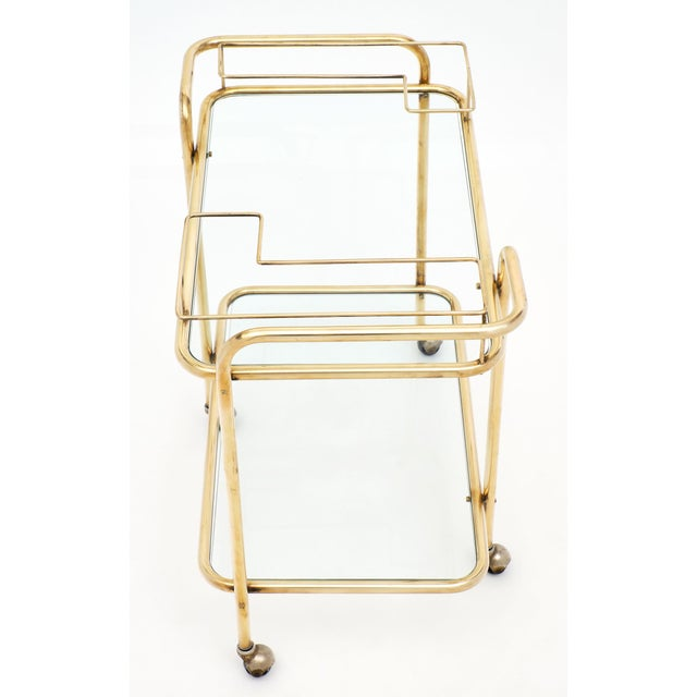 1950s Mid-Century Brass and Glass Bar Cart For Sale - Image 5 of 10