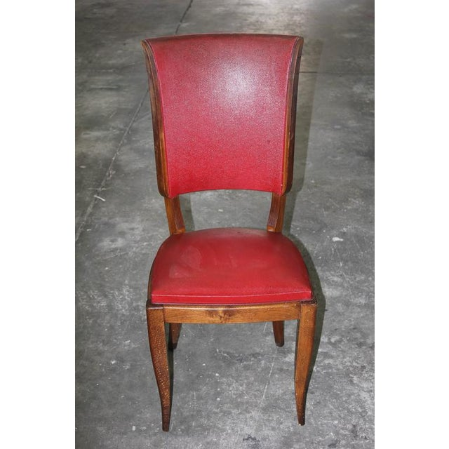 Set of Six French Art Deco Classic Solid Mahogany Dining Chairs, circa 1940s. - Image 4 of 10