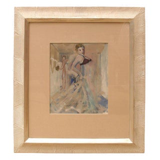 1930s Vintage Leo Engels Signed Belgian Art Deco Gouache and Watercolor Painting For Sale