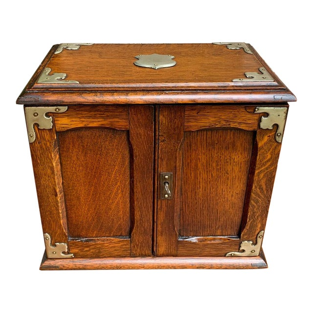 Antique English Tiger Oak Pipe Smoke Cabinet Card Game Box Humidor Lift Top For Sale