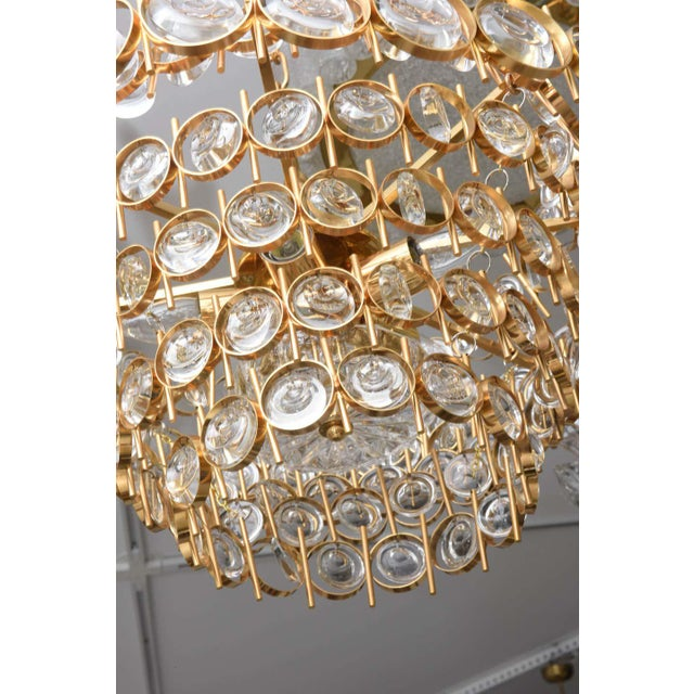 Metal Gold Plate and Crystal Chandelier by Palwa For Sale - Image 7 of 12