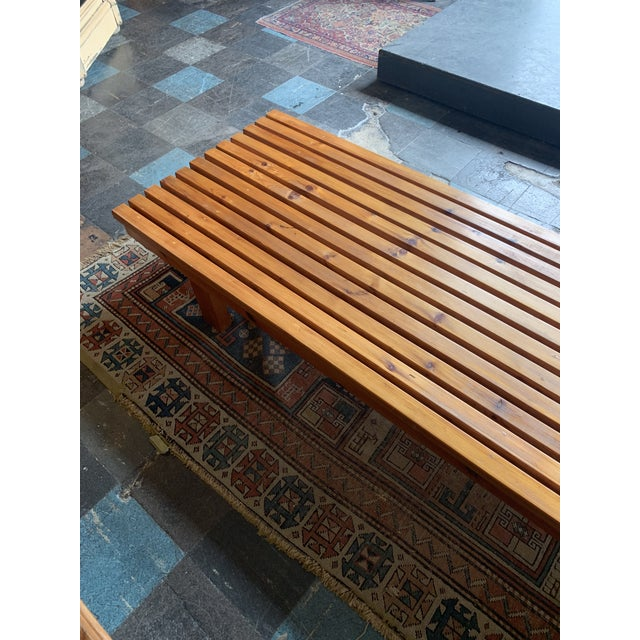 Mid-Century Modern Vintage Mid Century Low Wood Slat Bench For Sale - Image 3 of 6