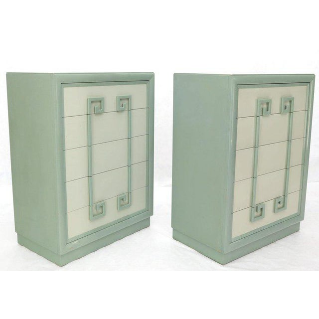 Kittinger Mandarin Chest Dresser Blue and White Lacquer Five Drawers - a Pair For Sale - Image 13 of 13