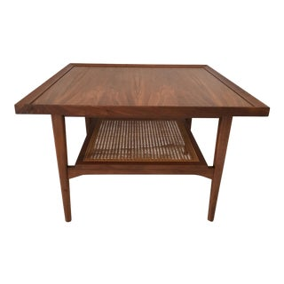 "1960s Drexel ""Declaration"" Wood & Cane Side Table"