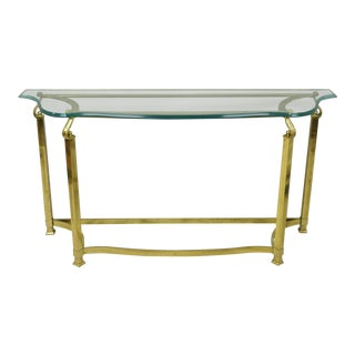 Vintage Italian Hollywood Regency Labarge Brass Base Beveled Glass Console Table For Sale
