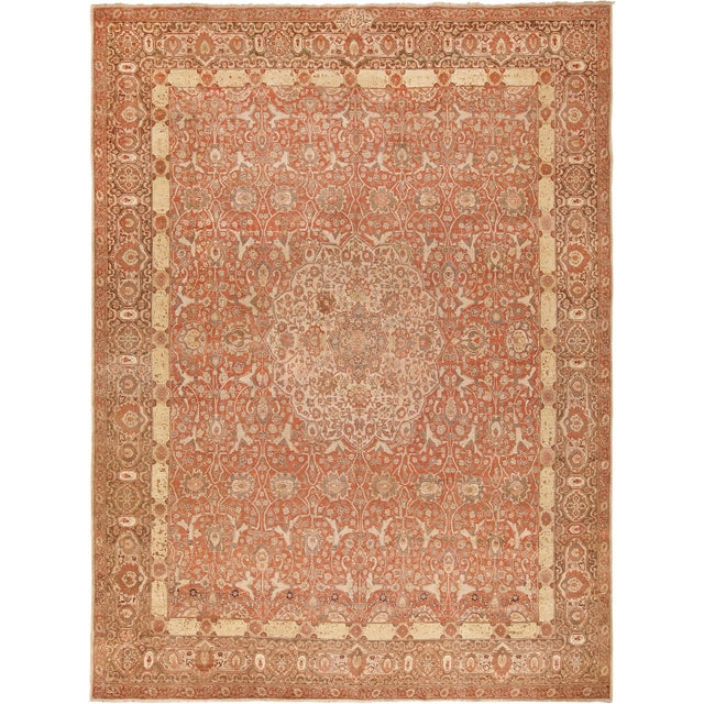 Room Size Antique Persian Tabriz Rust Color Rug - 10′7″ × 14′5″ For Sale - Image 11 of 11