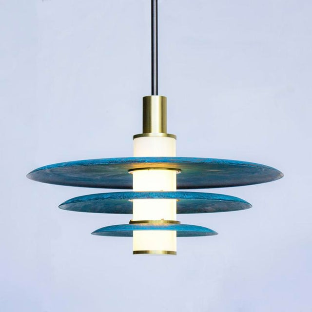 Trella Tiered Arthur Pendant in Prussian Blue, White Glass and Satin Brass Details For Sale - Image 4 of 5