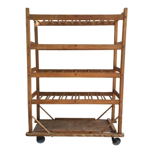Vintage Industrial Wooden Bakers Rack For Sale