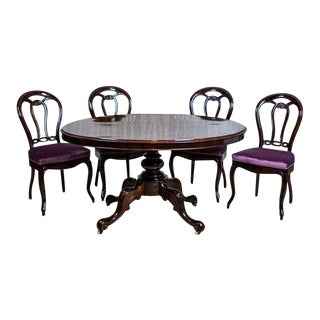19th-Century Louis Philippe Mahogany Table With Chairs - 5 Pieces For Sale