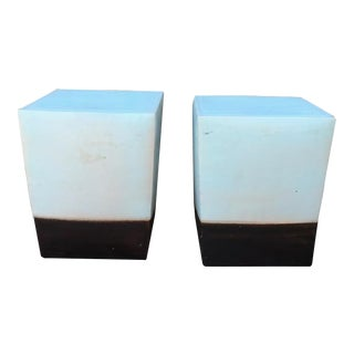 Modern Contemporary Ceramic Glazed Cube Tables- a Pair For Sale