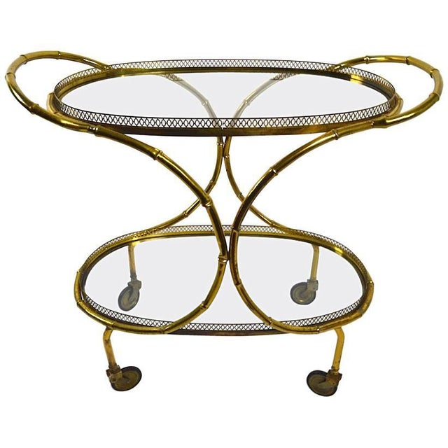 Faux Bamboo Serving Cart, Trolley in Brass and Glass For Sale - Image 11 of 11