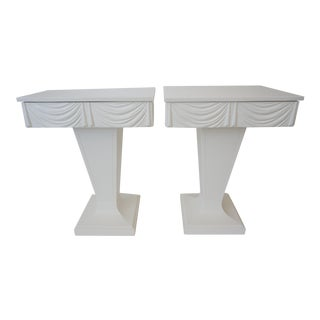 Art Deco 1930s Grosfeld House Night Stands White Drapery Motif - a Pair Nightstands Hollywood Regency For Sale