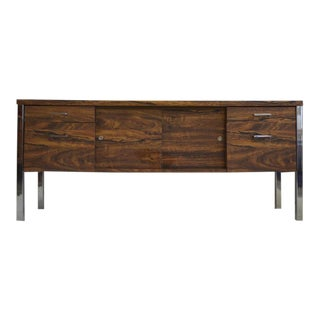 Mid Century Modern Faux Wood/Chrome Credenza For Sale