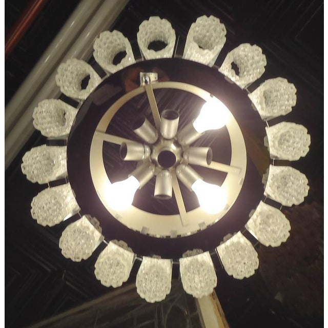 Metal Round Chandelier With Crackle Glass For Sale - Image 7 of 8