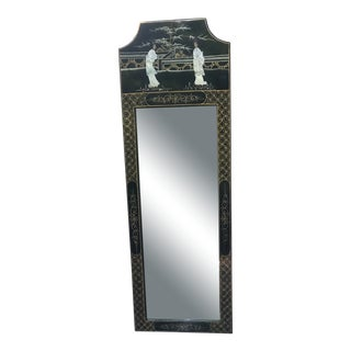 Chinoiserie Narrow Black Lacquer Mirror For Sale