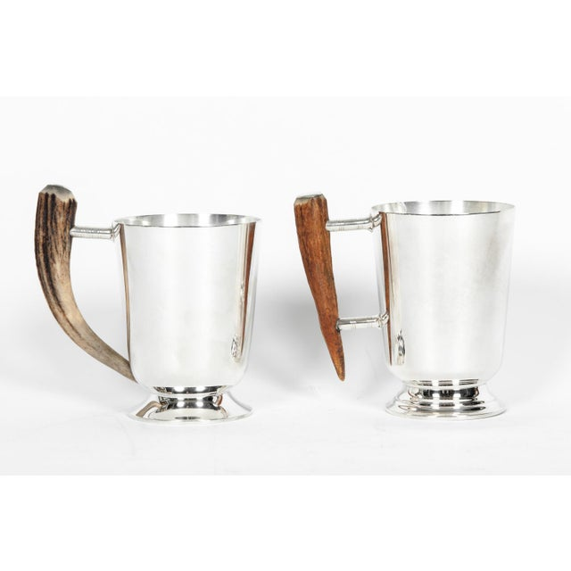 Vintage Silver Plate Mugs With Horn Handle - a Pair For Sale - Image 10 of 10