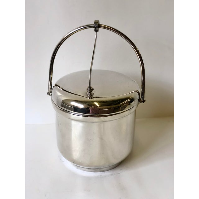 Silverplated Swing Top Ice Bucket and Tongs, Reed & Barton - a Pair For Sale - Image 9 of 13