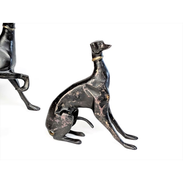 1990s Bronze Greyhound Dog Statues - Set of 3 For Sale - Image 5 of 11