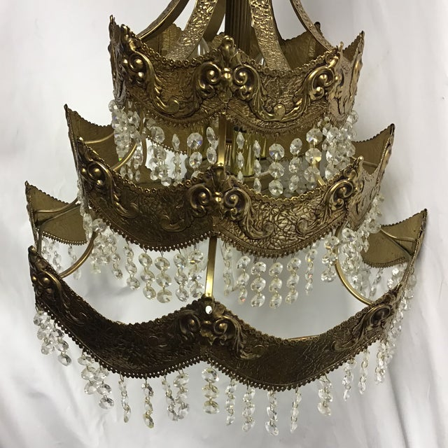 Mid 20th Century French Gold Tier Swag Lamp Chandelier For Sale - Image 5 of 12