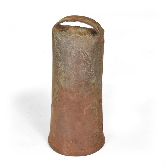 Antique Decorative Cow Bell, Metal & Wood For Sale - Image 9 of 9