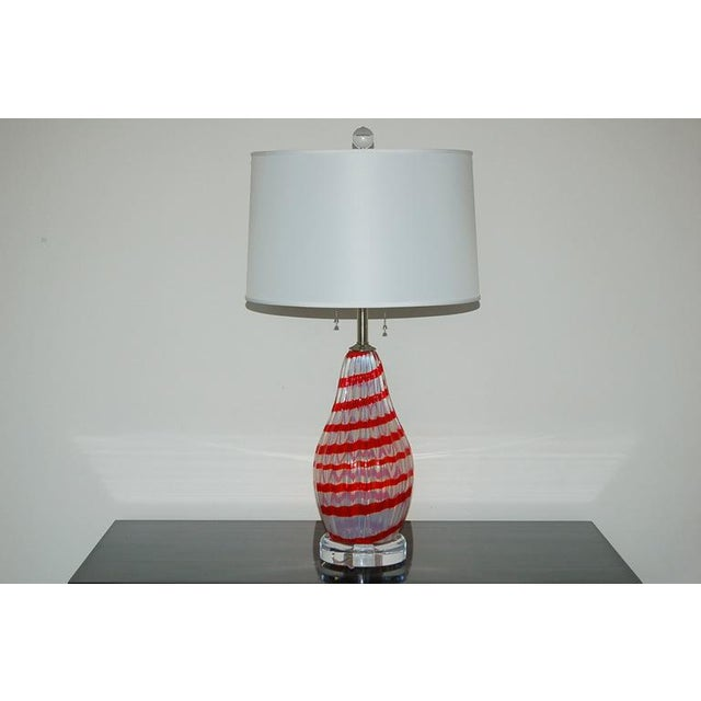 These Venetian Opaline Murano glass table lamps have a whimsical flavor to them. The Opaline WHITE glass has bright CHERRY...
