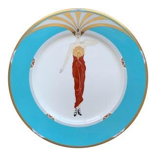 1980s Erté Le Soleil Turquoise Plate For Sale