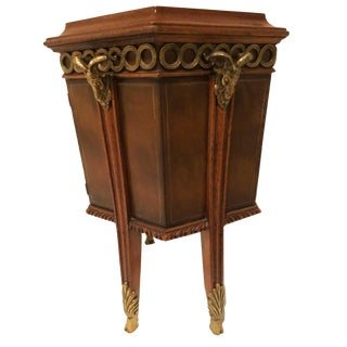 Traditional Maitland Smith Octagonal Side Table With Storage and Leather Top For Sale