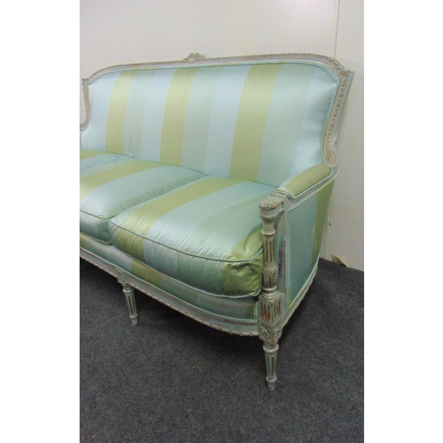 Late 19th Century Louis XVI Hand Carved Blue Painted Silk Sofa For Sale - Image 5 of 11