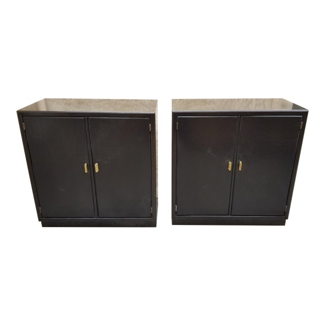 1970s Mid-Century Modern Low Black Cabinets - a Pair For Sale
