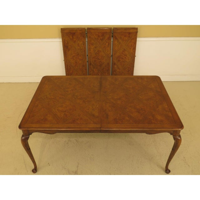 Brown 1970s Queen Anne Baker Walnut & Oak Dining Room Table For Sale - Image 8 of 12