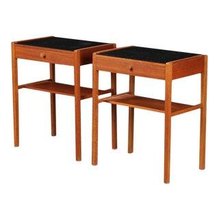 Danish Modern Teak + Glass Nightstands - A Pair For Sale