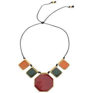 1970s Yves Saint Laurent Colorful Enamel Gold Limited Edition Necklace For Sale